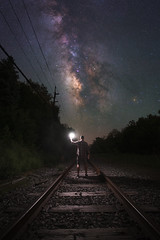 Midnight Railroad (Mike Ver Sprill - Milky Way Mike) Tags: midnight explorer train tracks railroad mike ver sprill milky way night photography sky tutorials travel explore landscape nightscape stars starry astrophotography astronomy long expsoure blend composit composite lit up light painting paint learn