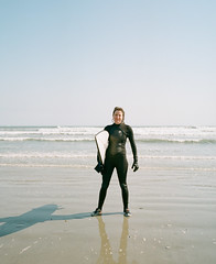 Surfer on Second Beach (J-CIO) Tags: 2018 analog film kodak mamiya mamiya7ii mediumformat portra400