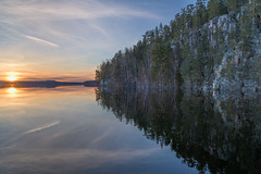 Sunset on a calm lake Saraavesi and Saraakallio rocks (livejungle) Tags: finland suomi laukaa spring kevät kallio saraakallio sunset auringonlasku lake järvi tranquil calm rocks cliff
