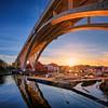 Haugesund, Norway (Vest der ute) Tags: xt2 norway rogaland haugesund bridge boat boats boathouse sunset sky sunstar reflections houses spring sea quay fav25