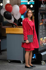 What's on the Menu? (Stuart Mac) Tags: red streets candid menu food hungry woman bored london balloons worker standing fuji xt2 56mm f12