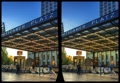Potsdamer Platz metro entrance 3-D / CrossEye / Stereoscopy / HDRaw (Stereotron) Tags: berlin spreeathen mitte metropole hauptstadt capital metropolis brandenburg city urban potsdamerplatz streetphotography europe germany deutschland crosseye crossview xview pair freeview sidebyside sbs kreuzblick 3d 3dphoto 3dstereo 3rddimension spatial stereo stereo3d stereophoto stereophotography stereoscopic stereoscopy stereotron threedimensional stereoview stereophotomaker stereophotograph 3dpicture 3dimage twin canon eos 550d yongnuo radio transmitter remote control synchron kitlens 1855mm availablelight tonemapping hdr hdri raw