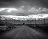 Riverside Road (dwblakey) Tags: blackandwhite desert sierranevada bishop mountains evening rocks california owensvalley road monochrome easternsierra outside sky outdoors landscape inyocounty volcanictableland volcanictablelands archaeology unitedstates us