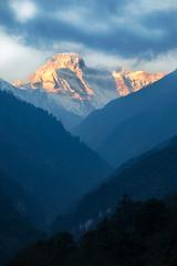 Bhutan: Mount Khang Bum. (icarium.imagery) Tags: bhutan travel canoneos5dmarkiv sigma100400mmf563dgoshsm bluehour captureone clouds dramaticsky forest gasavalley himalayas layers mountainrange mountains mysterious mystical peaks gangboom khangbum khangboom