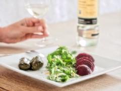 Bon Appétit! (Steve Brewer Photos) Tags: wine whitewine stuffedvineleaves salad beetroot wineglass