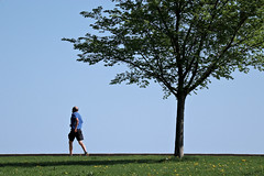 Running to Nowhere (chantsign) Tags: running man shadow bald shorts landscape