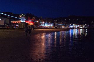 Shining lights on the beach at Scarborough