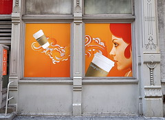 Telegraph Café, Chelsea, Manhattan (Spencer Means) Tags: architecture building artdeco telegraph café chelsea manhattan newyork ny nyc window mural sign poster woman orange coffee cup design dwwg