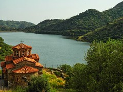 monastery of Pithariou..Lesvos Greece (panoskaralis) Tags: monastery chapels church lake trees green landscape outdoor bluesky water waterfront lesvos lesvosisland mytilene greece greek hellas hellenic holly