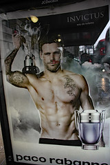 paco rabanne (Can Pac Swire) Tags: central london uk great britain british unitedkingdom city centre center bloomsbury 2016aimg2252 poster bus stop ad advert advertisement hunk man guy shirtless invictus pacorabanne