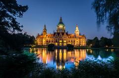 Town Hall Hanover (andreasmally) Tags: town hall hanover rathaus hannover blaue stunde blue hour germany deutschland niedersachsen wasser water