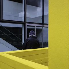 ladder (donvucl) Tags: london southbank haywardgallery yellow squareformat square figure composition colour fujix100f donvucl