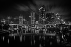 Tampa, Florida (B&W) (Gary Walters) Tags: glow neon landscape reflections city cityscape a7r starburst florida lights longexposure bw tampa nightscape skyline sony downtown