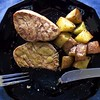 Grilled Tuna Steaks (Padmacara) Tags: tuna grilled potato marinade g11 black plate fork knife fish steak rosemary soy ginger