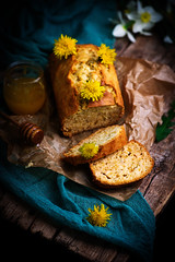 dandelion petal and honey  bread..selective focus (Zoryanchik) Tags: dandelion petal honey bread breakfast cake glaze food sweet background rustic delicious snack baked homemade dessert