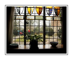 Beautiful Window (Audrey A Jackson) Tags: canon60d baddesleyclinton history stainedglass shields pots flowers lawn people