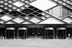 Leavygreave Road (Delay Tactics) Tags: sheffield university diamond entrance doors architecture film black white bw