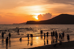 Golden sunset at crowded beach in Thailand (jack-sooksan) Tags: sea ocean golden sunset sunlight nature beach mountain sky silhouetted family crowded people sattahip chonburi thailand sunrise play swim relax weekend outdoor natural fun happiness joy water landscape summer season stream aqua dusk twilight seaside coast dawn lake pond seashore shore sandy sundown sun beautiful silhouette travel vacation