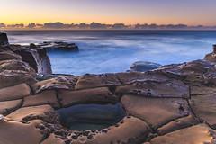 Sunrise Seascape (Merrillie) Tags: daybreak sunrise northavoca nature water rocks centralcoast morning newsouthwales waves earlymorning nsw sea avocabeach ocean rocky landscape northavocabeach coastal waterscape sky seascape australia coast dawn outdoors