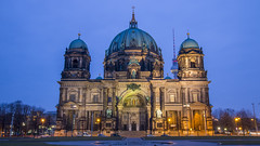 Partially-lit Berliner Dom early in the morning (HansPermana) Tags: belrin germany deutschland capitalcity hauptstadt 2018 spring march city cityscape berlinerdom bluehour longexposure architecture oldbuilding kirche dom