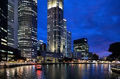 singapore blue hour (poludziber1) Tags: street singapore asia river blue travel capital city cityscape skyline