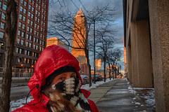 Let's go somewhere warm instead! (tquist24) Tags: cleveland hdr nikon nikond5300 ohio architecture city clouds coat cold geotagged goldenhour portrait scarf sidewalk sky skyscraper snow winter woman unitedstates girl