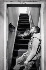 Newport Street Hustler (rowjimmy76) Tags: cincodemayo streetlife nighttime pacificnorthwest pnw iphone8 cig vape smoke smoking staircase hallway urban oregon newport hustler guy male man blackandwhite bw