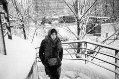 Moscow. 01.2018 (Woodent) Tags: streetphotography film bw winter girl orwon74plus diafine 800 olympus35rc candid