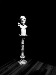 Kept in the Dark (Steve Taylor (Photography)) Tags: art digitalart sculpture bust artgallery monochrome blackandwhite contrast stark newzealand nz southisland canterbury christchurch beatrice dante dante'sbeatrice gallery italian ubiagini