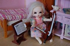 Puki Loves Her Cello (Emily1957) Tags: pukipuki toys toy cello dolls doll light nikond40 nikon naturallight availablelight pukipukiante music musician