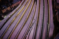 Compression (Douguerreotype) Tags: england london dark tracks uk british buildings train roof lights architecture city britain night gb urban station