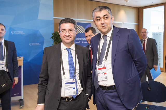 Ramin Hasanov and Ramin Guluzade prepare the Roundtable