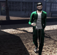Matty King 👑 (MATTY // *OMG*) Tags: sl secondlife men mens blog blogger look outfit lotd wear casual tracksuit vex event arcade new dope jogger hoodie jacket hat hair besom equal sandal thearcade
