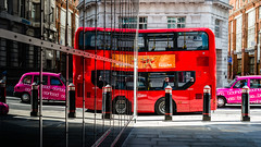 Double Double Decker (Sean Batten) Tags: london england unitedkingdom gb bus doubledecker reflection red fleetst window glass city urban traffic nikon df 50mm taxi