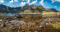 Lyn Idwal (jasonmgabriel) Tags: mountain lake water rocks children reflection clouds scenery landscape wales snowdonia