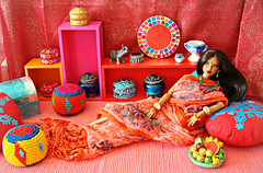 A-Z Challenge: I - India Inspired (Deejay Bafaroy) Tags: fashion royalty fr integrity toys doll puppe isha kalpana narayanan rarefind ooak rerooted red rot portrait porträt barbie indian diorama props cushion kissen mirror spiegel 16 scale playscale miniature miniatur pink orange yellow gelb blue blau turquoise türkis azchallengeiindiainspired azchallenge iindiainspired i challenge