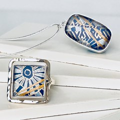 Blue, Silver, and Gold Paper Ring and Pendant Necklace by Bashful Pineapple (all things paper) Tags: bashfulpineapple paperjewelry resinjewelry silverjewelry paperring papernecklace paperpendant chiyogami japanesepaper