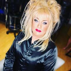 Sitting pretty (Sissy kaylah) Tags: trans transvestite tranny crossdress crossdressing crossdresser blackblouse blonde shinyblouse bighair heavymakeup black