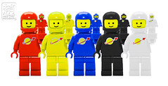 Spacemen Statuettes (mikechiu86) Tags: photoshopped lego minifigures classic space spaceman rainbow statuette colourful legos toys toy cute