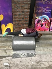 NYC Scavenger Hunt Photo (realcityhunt) Tags: plank planking trend brickwall brick laydown sidewalk aladdin advertisement sign poster backpack lady woman ponytail cellphone musical play broadway challenge pose scavengerhunt nyc newyorkcity teamwork teambuilding corporateevent cityhunt