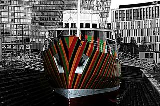 Mersey Pilot ship Edmund Gardner in dazzle colours