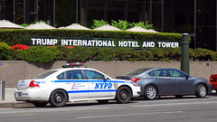 NYPD Police car and sign, Columbus Circle, New York City, USA. (Roly-sisaphus) Tags: nyc thebigapple unitedstatesofamerica parks