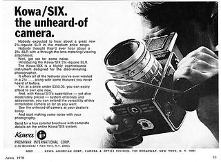 Kowa/SIX camera advertisement.
