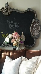 Good Morning! (Jewel Appletor aka Karalyn Hubbard) Tags: goodmorning chalkboard reuserecycle fauxflowers staging sunlight chalkboardmakeover antique vintage photography french