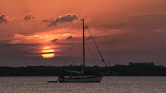 Sunset anchorage. (Jill Bazeley) Tags: sailboat sunset sunrise anchor anchorage anchored moored intracoastal waterway indian river lagoon space coast brevard county merritt island melbourne florida sony a7rii 70200mm