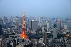 Tokyo Tower (333m ; Completed in 1958) (globetrekimages) Tags: tokyo tokyotower skyscraper skyline city urban dusk architecture building japan
