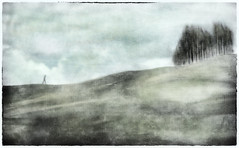 the climb . . . (YvonneRaulston) Tags: hill hills figure trees green country person sky atmospheric art artistry creativeartphotography calm colour clouds creative dream desaturated digitalart digital day emotive fineartgrunge impressionist icm impact moody moments man old sony soft morning photoshopartistry peaceful surreal texture vignette mysterious