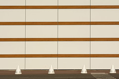 Four cones and four stripes (Jan van der Wolf) Tags: map174217v four vier cones pilonnen stripes strepen lines lijnen facade gevel repetition herhaling dissymmetry