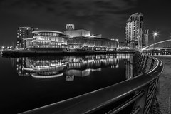 L. S. Lowry... the charcoal version (Explore 01/05/18 #4) (andyrousephotography) Tags: salfordquays lowrytheatre lslowry manchestershipcanal canal nightshoot reflections lights mono blackandwhite bw nik silverefexpro2 longexposure 083dixon leefilters 06medndgrad batterthequays