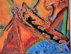 """ the mountain "" from sotiris chatzispyrou (sotos1307) Tags: mountain sotiris chatzispyrou green blue boat acrylic artistic art red tree tempera texture top ink mix oil ocean color calligraphy circle cloud carbon chalk painting photography photo water moisture"
